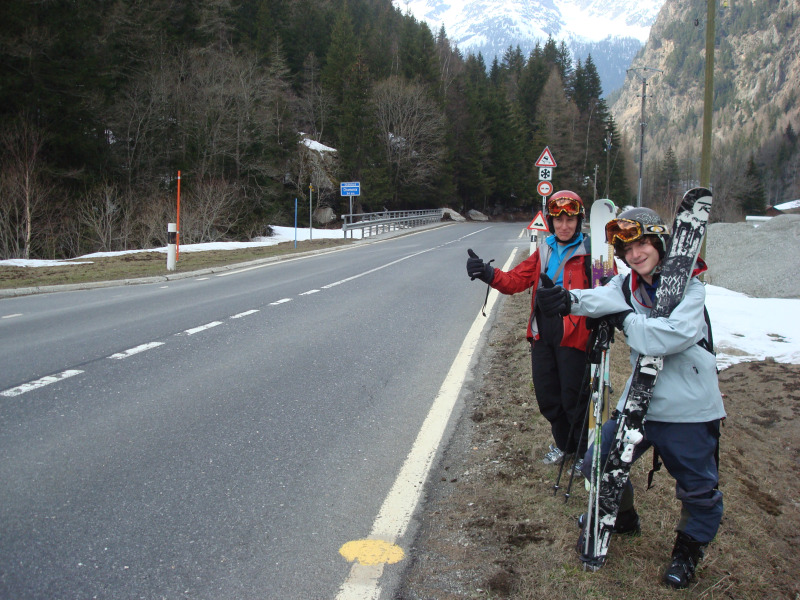 Hitching back to Chamonix from Switzerland after a nice lunch