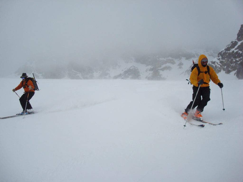 Descending back down to the Pizzini Hut after a day tour to Colle Palle Rosa.