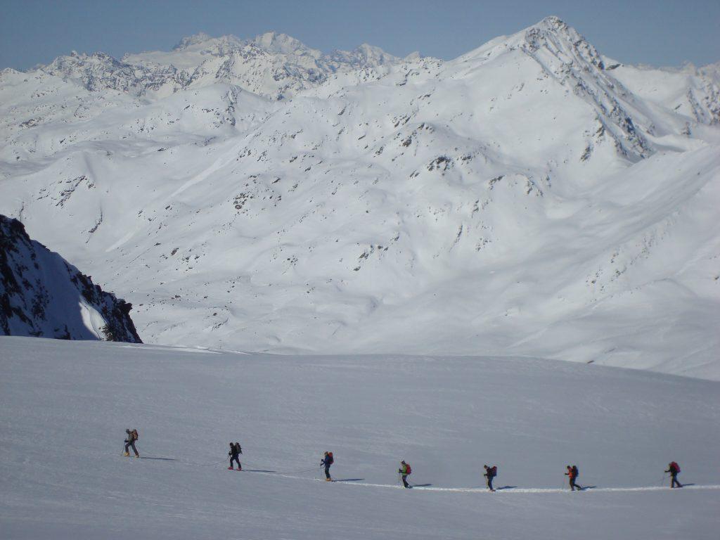 Skinning up the Cevedale Glacier.