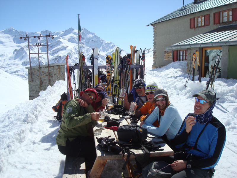 Enjoying the afternoon at the Pizzini Hut.