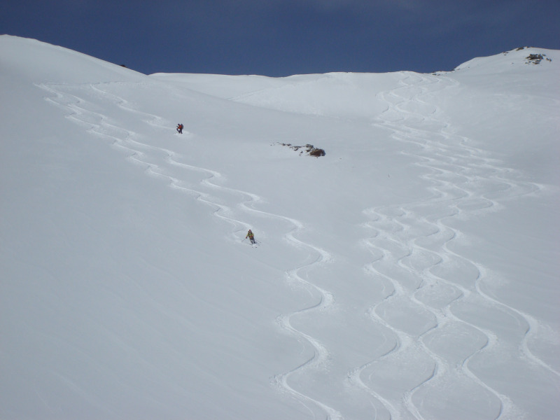 The first descent from the ski area